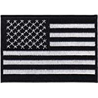 AMERICAN PRIDE FLAGS US Flag Black and White patch toppa Iron-On / Sew-On Officially Licensed American Patriot Pride / Flag Artwork, 2.75