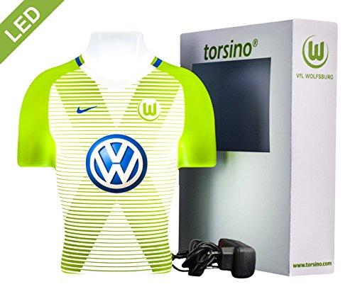Wölfe Home Trikot (VfL Wolfsburg 3D torsino® LED Lampe (Heim 2017/18) - Das besondere Geschenk für Fußballfans! Fanartikel für Frauen, Kinder & Männer - Kinderzimmerlampe, Nachtlicht, Wandlampe)
