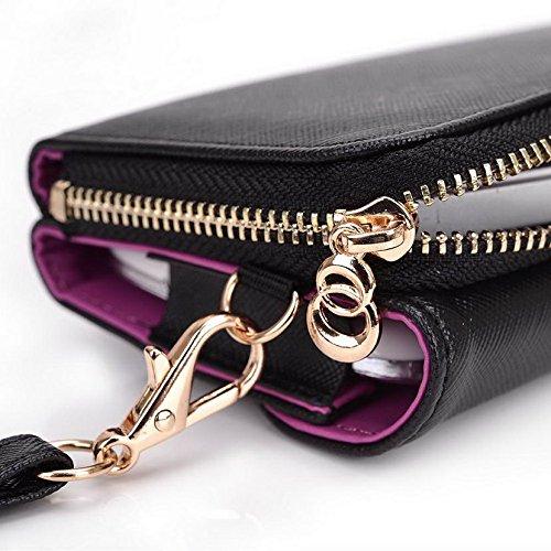 Kroo d'embrayage portefeuille avec dragonne et sangle bandoulière pour Vodafone Smart 4Mini/première 6Smartphone Multicolore - Rouge/vert Multicolore - Black and Violet