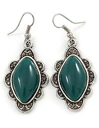 Viktorianischer Stil Grün Keramik Stein Diamant Ohrringe in Tropfenform Silber Tone–50mm L
