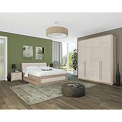 Schlafzimmer Komplett - Set E Lepa, 5-teilig, Farbe: Eiche Braun / Creme Hochglanz