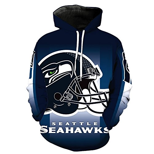 ZXTXGG Männer 3D Hoodies Seattle Seahawks Fußball Teamuniform Muster Digitaldruck Kapuzenpullis Liebhaber Kapuzenpullis(XXXL,Dunkelblau)