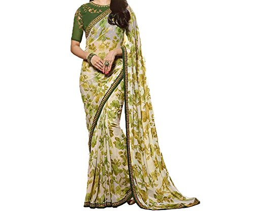 TAGLINE Women Faux Georgette Saree With Blouse Piece (TAG51103, MEHNDI)