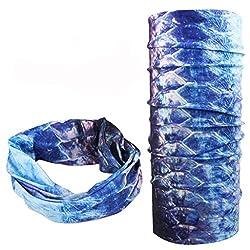 Imported Fishing Scarf Headwear Neck Gaiter Utility Wicking Tarpon Skin Deep Blue