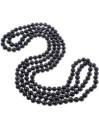 ae9a1948a200 Collar de perlas de agua dulce naturales redondas de 8 a 9 mm de largo