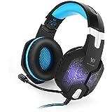 KekexiliKOTIONEACHG1000Professionelle3,5mmPCGamingBass-Stereo-Headset-Kopfhörer-Kopfhörer-StirnbandmitMic-MikrofonNoiseIsolationIn-Ear-BunteBreathing-Licht-LEDfürLaptop-Computer-Blau