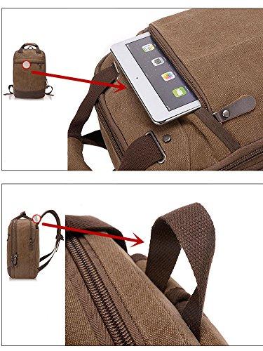 Minetom Unisex Grande Capacità Canvas Borsa Laptop Zaino Coreano Retro Zaini Sacchetto Campeggio Camminata Alpinismo Caffè