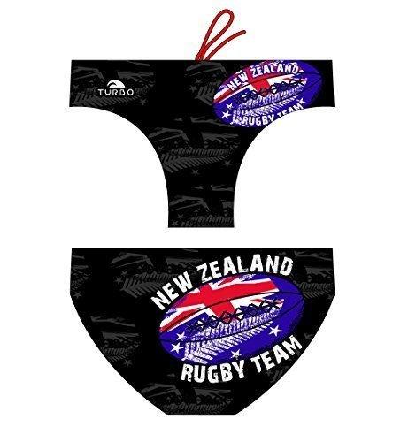 Turbo - Bañador RUGBY NEW ZEALAND de Waterpolo Competicion Natación y Triatlón Patrón de ajuste cómodo (XL/36)