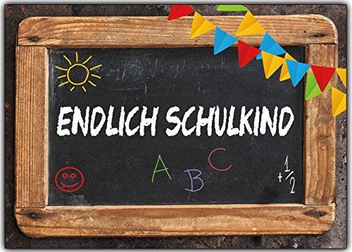 Einladungskarten zur Einschulung Schulanfang Schule Einladung Karten Schultafel 12 Stück Schuleingang Schuleinführung Junge Mädchen