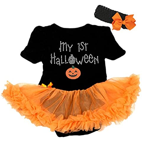 Mi primer Halloween calabaza vestido negro body de tutú de naranja bebé Pelele nb-18m