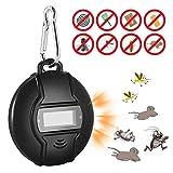 hinmay Tragbare Solar Ultraschall-Stollen, Micro-USB, mit Ultraschall-Mückenschutz, mit Kompass und Karabiner für Schabe Spinne, Ameise, und Flöhe, Menschen, die Maus, Bett, Bugs und für Haustiere, Sicherheit