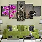 zyzdsd Leinwand Poster Home Decor Wandkunst Hd Drucke 5 Stücke Buddha Mit Blumenmalereien Motte Orchidee Stein Kerze Bilder (Kein Rahmen)