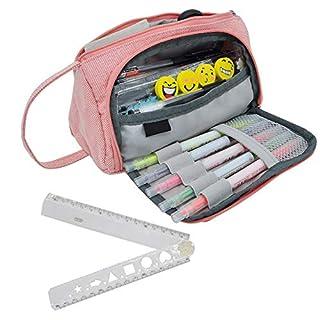 Trousse Plumier Grande Trousse à Crayons Rose Durable pour école, Bureau, étudiante, Adulte, avec 1 Règle Pliable en Plastique 30 cm