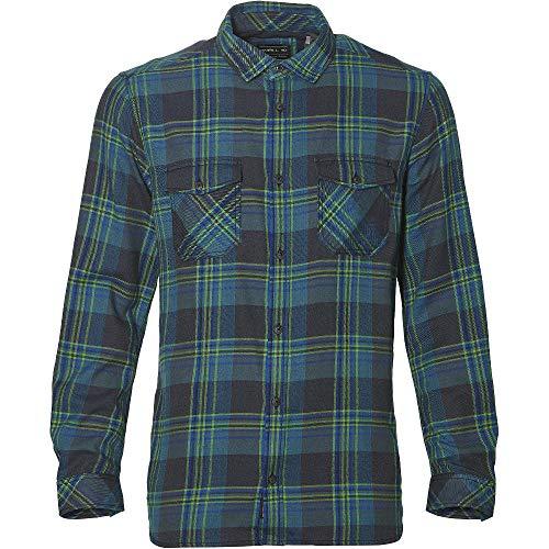 O'Neill Herren Hemd lang Violator Flannel Shirt LS Shirts & Hemden, Blue AOP w/Green, L - Ls Baumwoll-twill Hemd