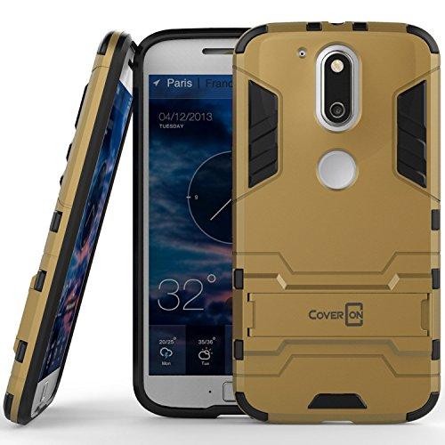 Moto G4Fall, Moto G4Plus Fall, Moto G (4. Gen) Fall coveron [Shadow Armor Serie] Hard Slim Hybrid Phone Cover für Motorola Moto G4Plus Moto G4Moto G (4. Gen)-Rot, Gold (Cricket Phone Moto G)