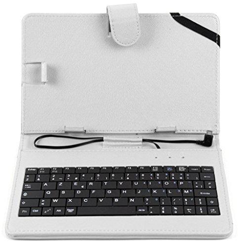 Weiße Schutzhülle Etui Tasche Case aus Premium Lederimitat mit integrierter Tastatur / Keyboard für Odys Xelio PhoneTab 7 | Junior Tab 8 Pro | Syno (X610111) | Maven 7 | Mira | Orbit LTE | Pro Q8 | Xelio Phone Tab 3 LTE Tablets - FRANZÖSISCHE Belegung