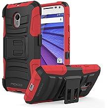Moto G 3rd Gen 2015 Case - MoKo Full Body Rugged Holster Phone Cover with Swivel Belt Clip for Motorola Moto G 3rd Gen 2015 Smartphone, RED (Not for Moto G Previous Generations)