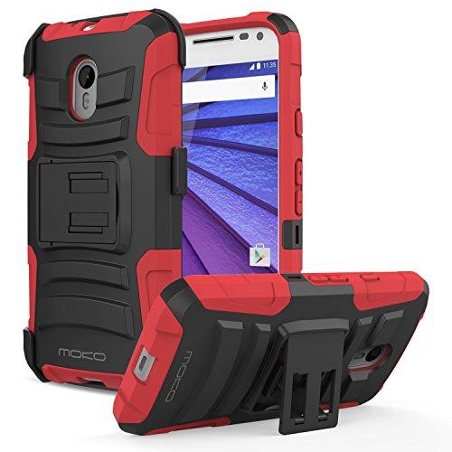 MoKo Moto G3 Hülle - [Heavy Duty Serie] Outdoor Dual Layer Armor Case Handy Schutzhülle Schale Bumper mit Gürtelclip und Standfunktion für Motorola Moto G 3. Generation 2015 Smartphone, Rot