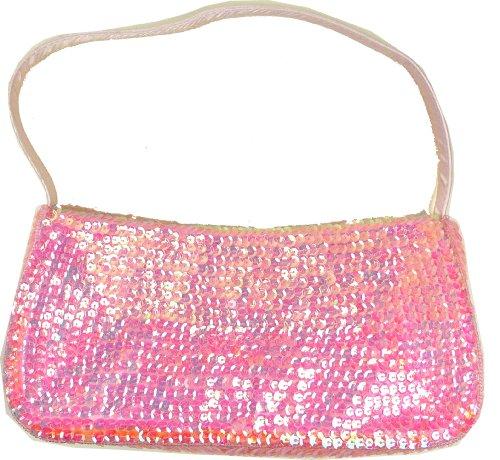 Damen Handtaschen Pailletten Handtasche 26cm - viele Farben Rosa