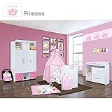 Babyzimmer Mexx in Weiss Hochglanz 22 tlg. mit 3 türigem Kl. + Princess Rosa