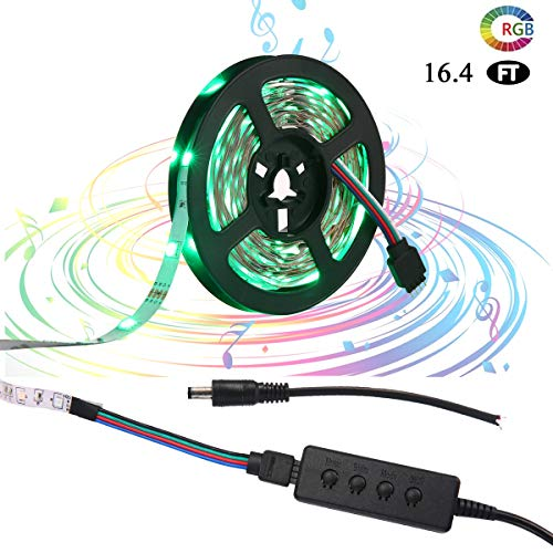 LED-Streifen Leuchten, modernisierte Flexible LED-Lichtstreifen mit 300 LEDs SMD 5050 RGB RGB Strip Lights Sync zur Musik Versorgung für DIY/Weihnachten/Party/Dekoration/Schlafzimmer/TV (5 m)