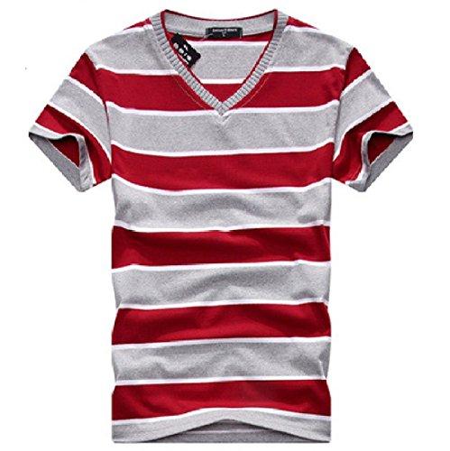 Men's Fashion Striped V-Neck Short Sleeve Tee Shirt V08