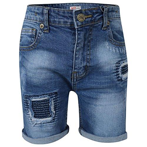A2Z 4 Kids® Kinder Jungen Mädchen Kurze Hose Designer Mitte Blau Denim Zerrissene - Boys Denim Short Ripped Mid Blue_5-6 Boys Blue Denim