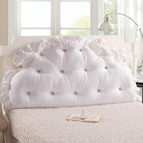 MMM- Coussin de lit de dossier de lit 1.5m / 1.8m grand coussin d'oreiller de noyau de coton perlé de douille ( Couleur : Blanc , taille : 180*85cm )