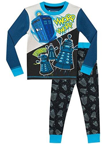 Doctor Who Dr Who Jungen Tardis und Daleks Schlafanzug Slim Fit Mehrfarbig 134 (Who Kinder Schlafanzüge Dr)
