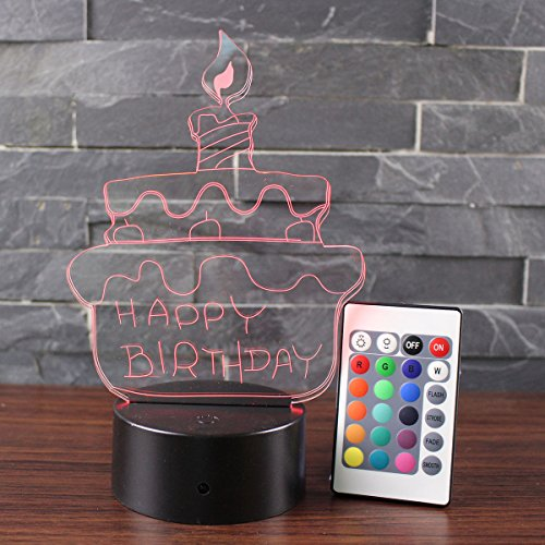 3D Lamp Visual Light Touch Switch Colorful Night Light with Remote Controller Black Pedestal (Birthday Cake) Black Night Light
