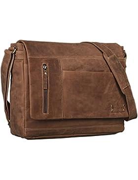 STILORD Vintage Schultertasche aus echtem Rinds-Leder, mit Laptopfach, Umhängetasche aufsteckbar Unitasche Leder...