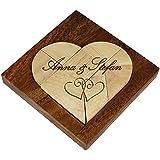 Kleines Herz Puzzle aus hellem Holz mit Gravur zur Hochzeit - [Motiv Herzen] - in edler Holzbox - Personalisiert mit [Namen] - Legespiel - Denkspiel - Knobelspiel - Geduldspiel - 11 x 11 x 2 cm