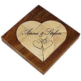 Piccolo Puzzle in Legno Chiaro a Forma di Cuore con Incisione – Motivo Cuori – Personalizzato con [NOMI] – Gioco Tangram – Regalo di Matrimonio – Regalo di Anniversario e San Valentino – Regalo per Coppie
