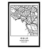 Nacnic Druck Oslo Stadtplan nordischer Stil schwarz und