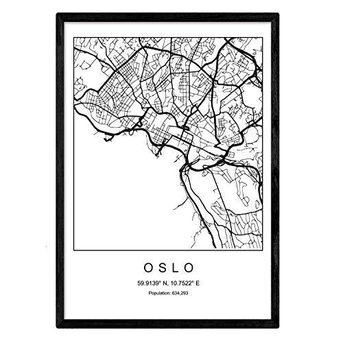 Nacnic Lámina Mapa Ciudad Oslo Estilo nordico Blanco