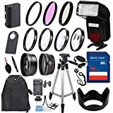 58mm 17 Piece Accessory Kit For Canon EOS 70D, 80D, 7D Mark II DSLRs With Replaceable LP-E6 Battery, Automatic LED Flash, 16GB Memory, HD Filters, Backpack, Auxiliary Lenses More