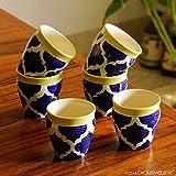 #1: ExclusiveLane 'Tropic of Kulhads' Handpainted In Ceramic (Set Of 6)- Tea Glasses Cutting Chai Glasses Kullad Tea Cups Kullad Mugs Glasses Tableware Ethnic Coffee Mugs Serving Pieces Tea Cup Sets Kulhad Cups Set Chai Cups