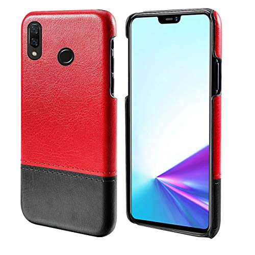 Obamono Case for Vivo Z3x, Pouch PU Leather Wallet Case Kickstand Function Ultra Folio Flip Slim Card Holder Case Cover Excellence for Vivo Z3x (Red-Black) Cute Button Center