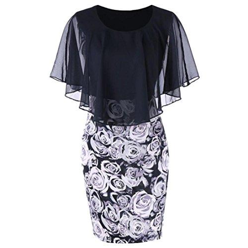 TUDUZ Sommerkleid Damen Casual Rose Print Chiffon O-Ausschnitt Rüschen Minikleid Partykleid (Schwarz-A, XXL)
