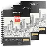 ARTEZA Skizzenblock A4 210 x 297mm | 3er-Set Spiralgebundene Sketchbooks mit je 100 Blättern |100gms Säurefreies Dickes Papier | Fein Gezahnte Oberfläche | Ideal für eine Vielzahl Trockener Medien