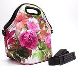 Baselife Isolierte Neopren-Lunchtasche mit Reißverschluss, waschbar, dehnbar, wasserdicht, für Picknick, Outdoor, Reisen, modische Handtasche für Damen, Herren, Kinder, Mädchen blume