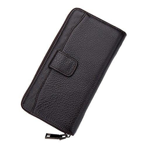 Uomo Classico Resistente In Pelle Portafogli Flipout Slim ID Portafoglio,Black-OneSize Black