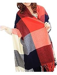 af5484c74757 FENTI Echarpe Longue en Carreau Multicoloré Châle Chaud en Cachemire Etole  pour Femme