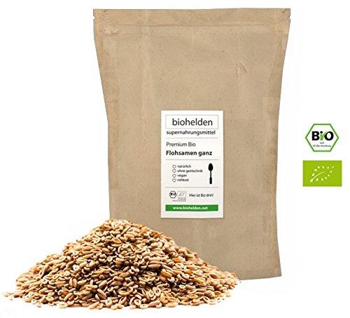 Biohelden – 1kg Bio Flohsamen ganz Premium Qualität – 99% reine Bio Floh Samen – Vegan Lactosefrei Glutenfrei