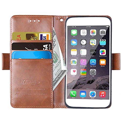 iPhone Case Cover Étui pour iPhone 6S, étui en folio de couleur solide pour porte-monnaie avec 3 cartes 1 découpe pour caisse en plastique pour iPhone 6S ( Color : Brown , Size : IPhone 6 6S ) Brown