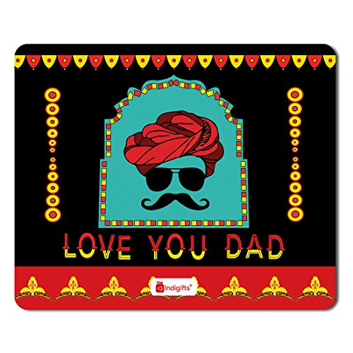 Indigifts Fathers Day Gifts Love You Dad Quote Folk Face Contemporary Style Black Mousepad 8.5x7 inches -Special Gifts for Dad-Father-Papa-Birthday, Parents Anniversary, Mouse Pads for Computer