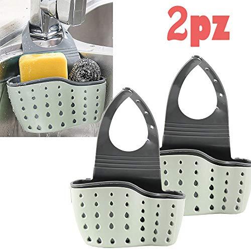 gudotra 2pz porta spugna cucina lavello organizer per lavello cestino appeso da rubinetto portaoggetti per cucina bagno