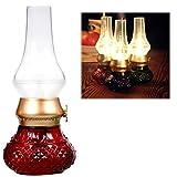Dekorative wiederaufladbare flammenlose Kerze Laterne, Vintage Öl Tischlampe mit Blow ON / OFF Control, Dimmer Control Key, Kerosin Lampe, Nachttischlampe, kleine Nacht Licht (Rot)