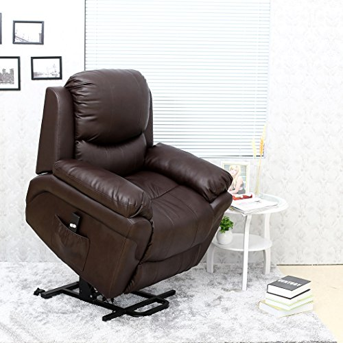 MADISON ELECTRIC RISE RECLINER LEATHER ARMCHAIR SOFA HOME LOUNGE CHAIR (Brown)