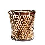 Hujindong lamp Rattan Bambus Papierkorb Abfall Papier Eimer Desktop Mülleimer handgewebte Büro Badezimmer Schlafzimmer